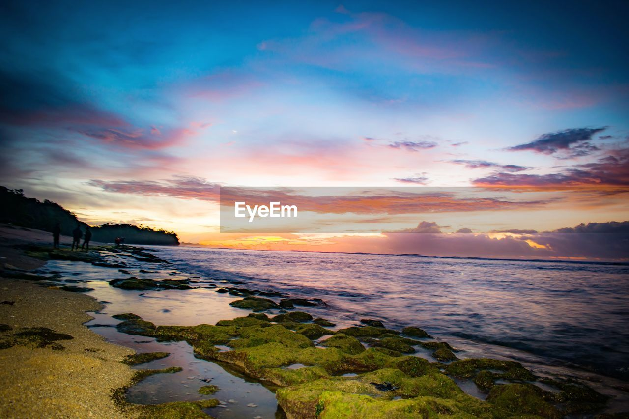 sky, water, sunset, cloud - sky, sea, scenics - nature, beauty in nature, land, beach, tranquility, tranquil scene, orange color, nature, no people, horizon over water, horizon, wave, motion, idyllic, outdoors
