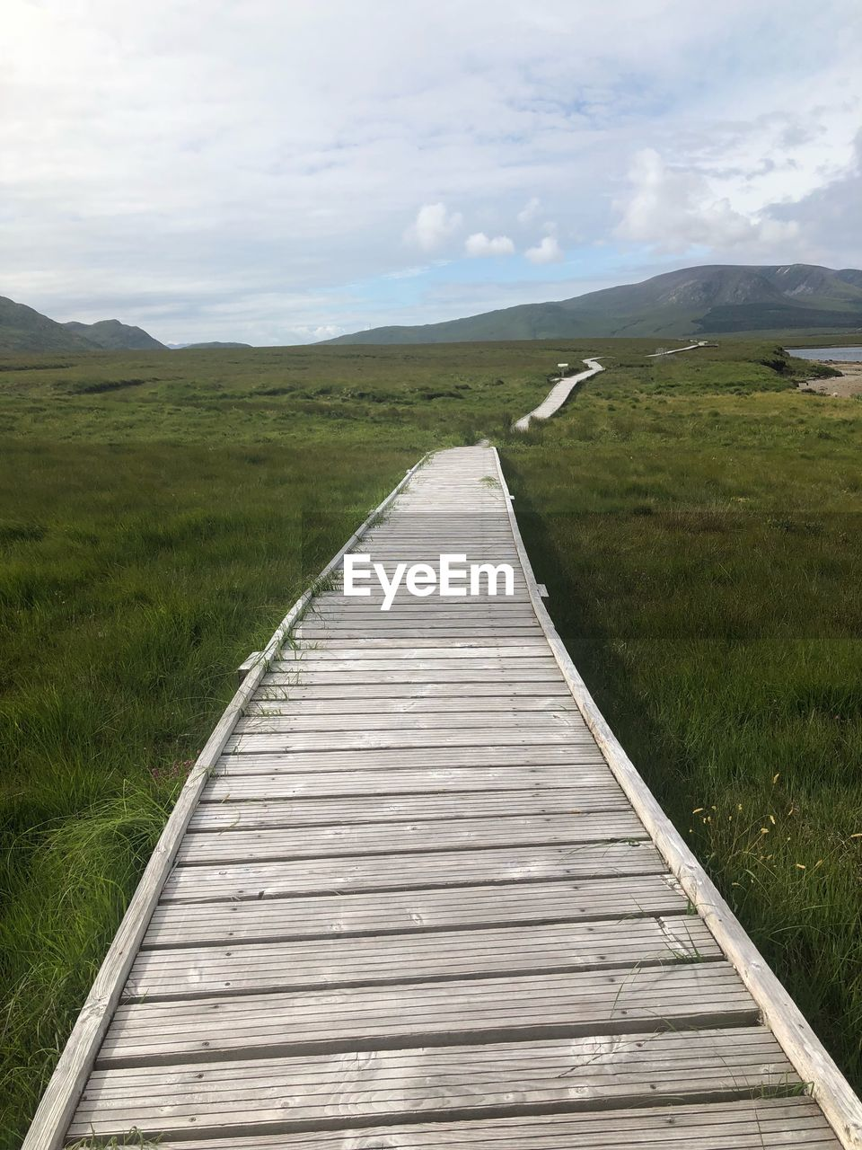 tranquil scene, scenics - nature, tranquility, grass, the way forward, sky, direction, beauty in nature, landscape, non-urban scene, cloud - sky, nature, plant, environment, wood - material, no people, land, day, mountain, field, diminishing perspective, outdoors, long