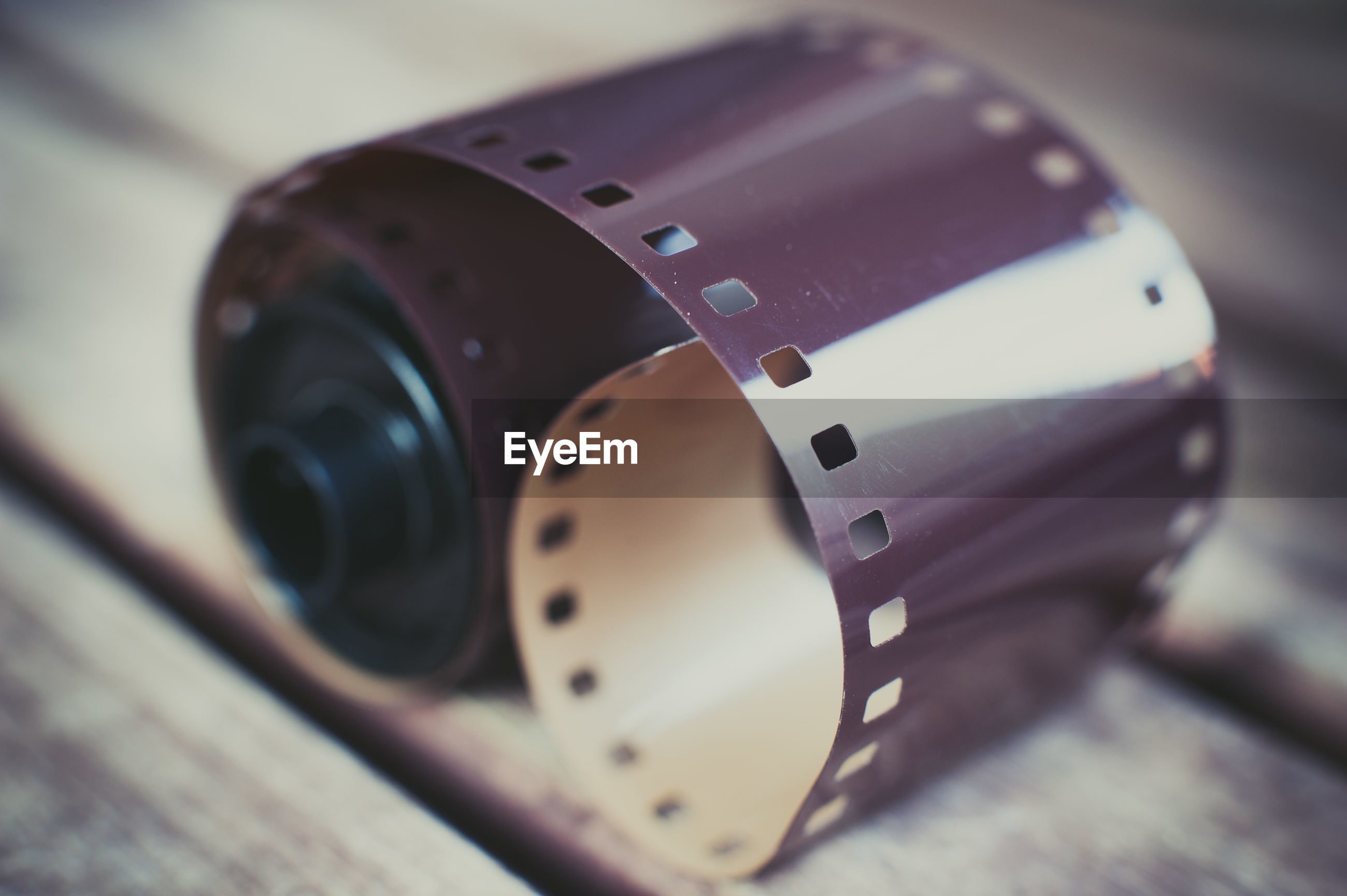 Close-up of camera film on table