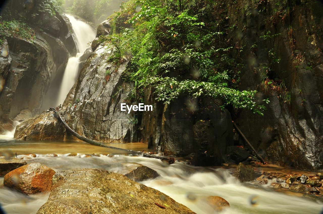 water, beauty in nature, scenics - nature, motion, rock, long exposure, tree, flowing water, rock - object, nature, waterfall, solid, no people, blurred motion, plant, forest, tranquility, land, flowing, outdoors, falling water, power in nature