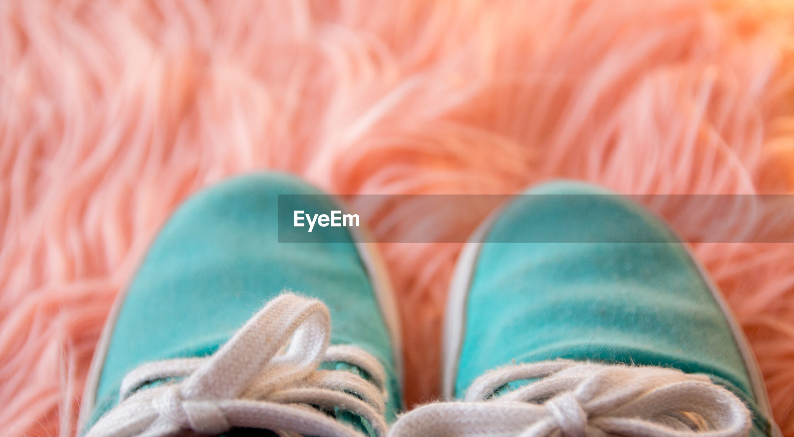 Directly above shot of shoes over pink fur