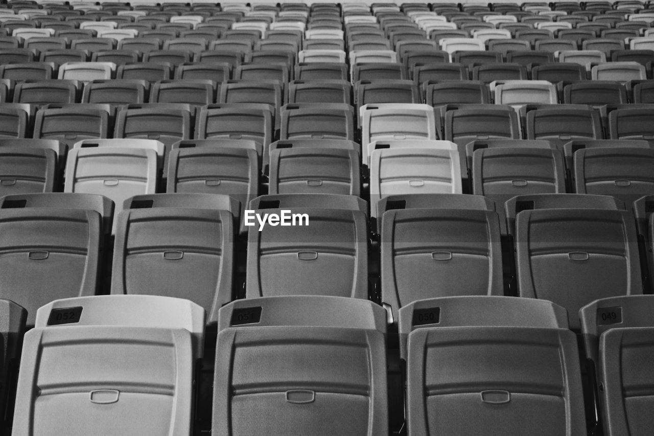 Full Frame Shot Of Empty Seats In Stadium