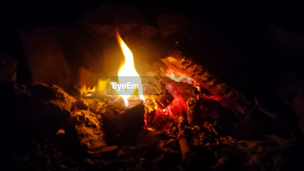 burning, flame, heat - temperature, night, no people, close-up, outdoors, nature