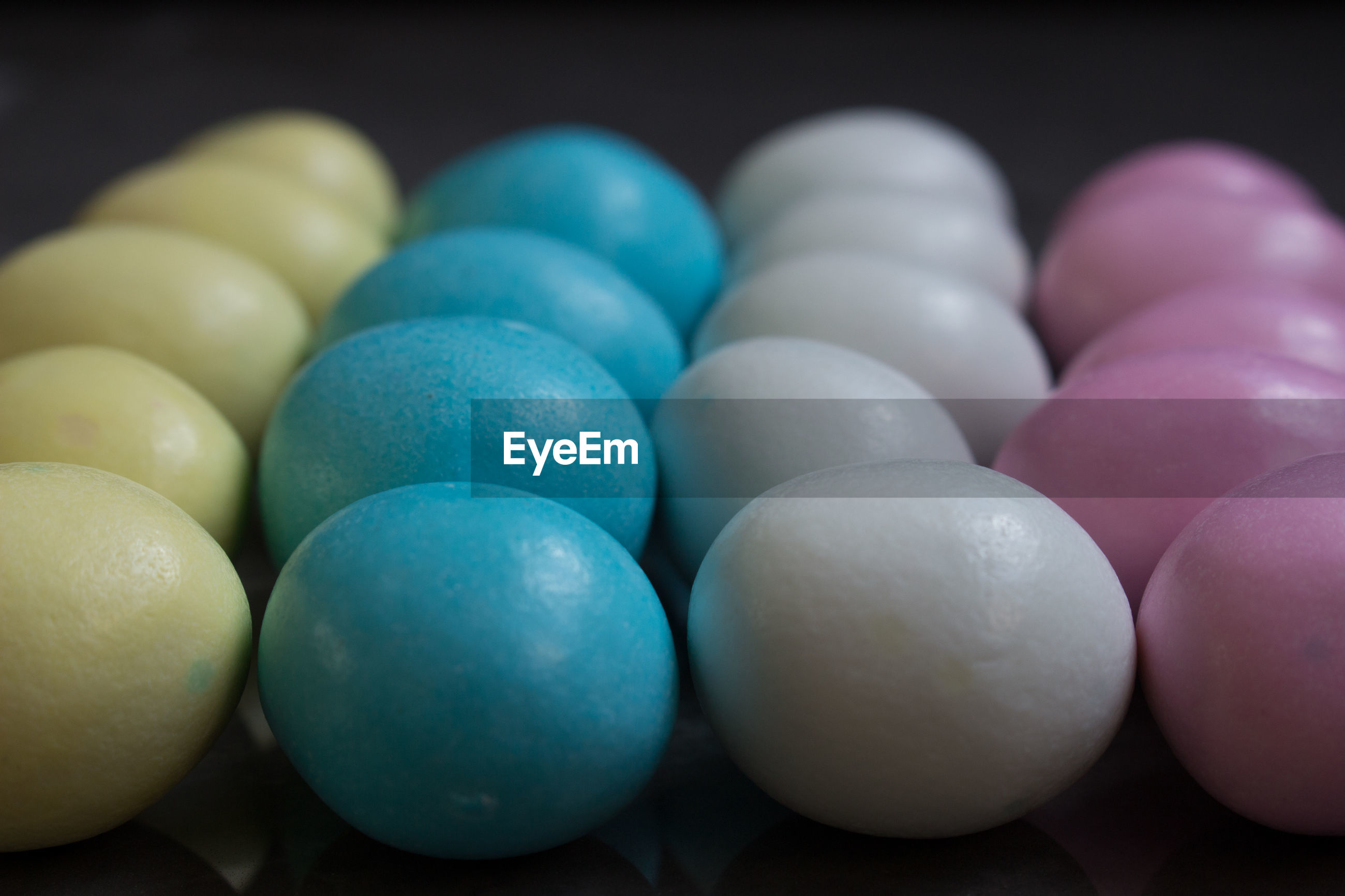 Close-up of multi colored easter eggs