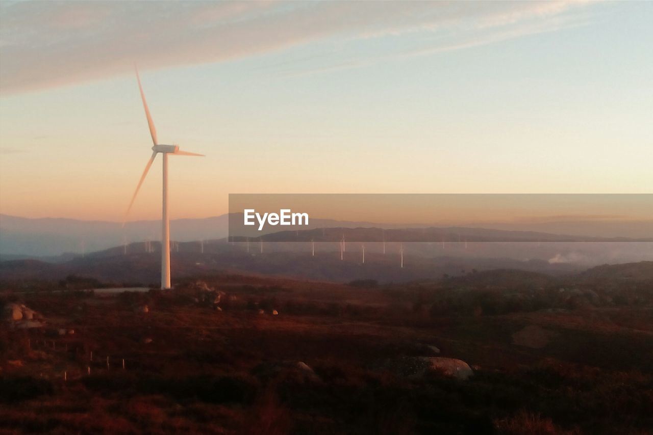 wind turbine, wind power, alternative energy, environmental conservation, renewable energy, fuel and power generation, sunset, windmill, landscape, no people, mountain, sky, nature, outdoors, industrial windmill, scenics, beauty in nature, technology, day