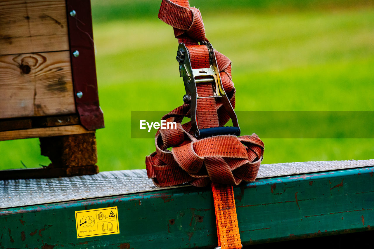 Tangled belt on forklift