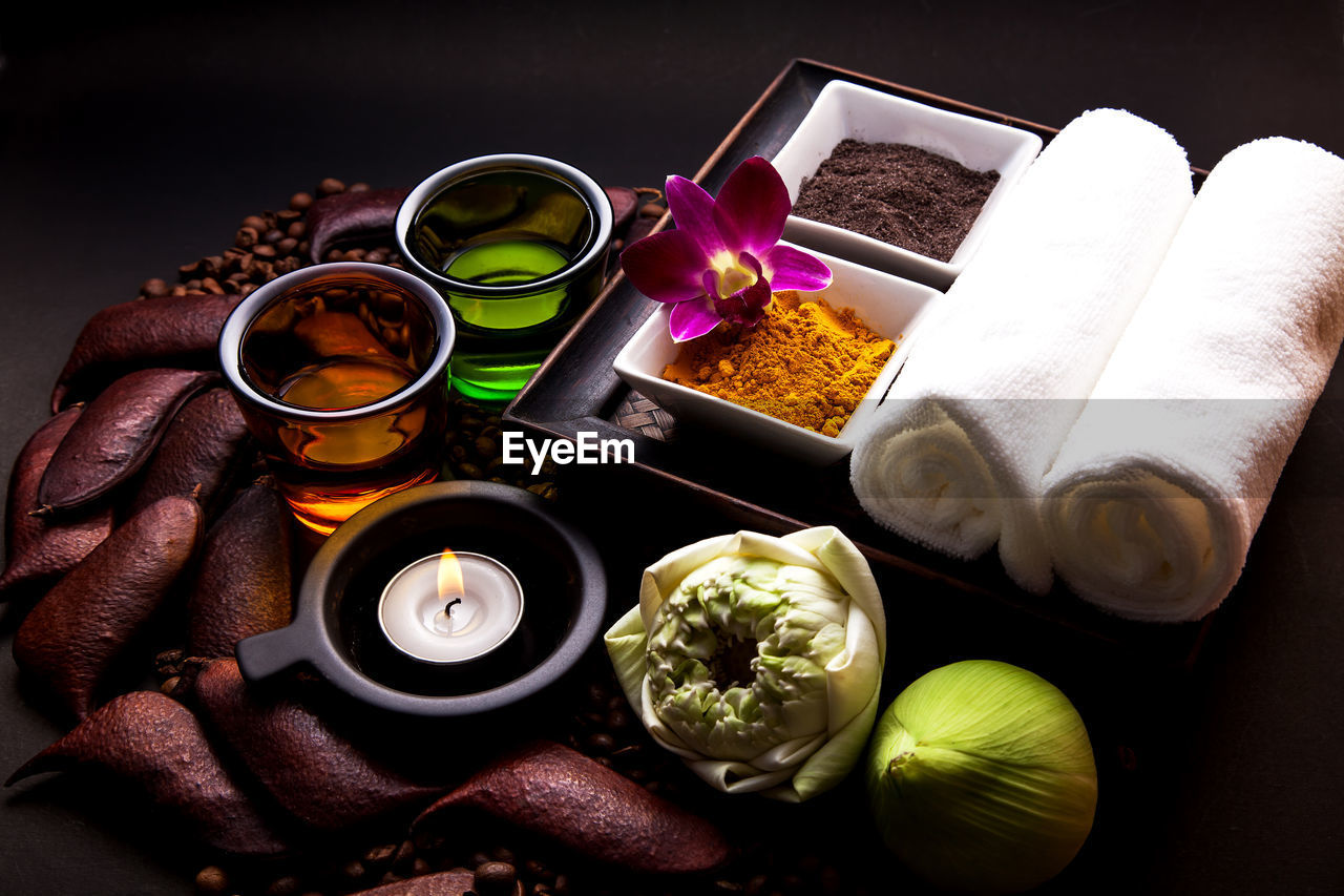 indoors, table, still life, variation, choice, freshness, spice, food and drink, body care, food, flower, wellbeing, high angle view, close-up, ingredient, bowl, container, flowering plant, human body part