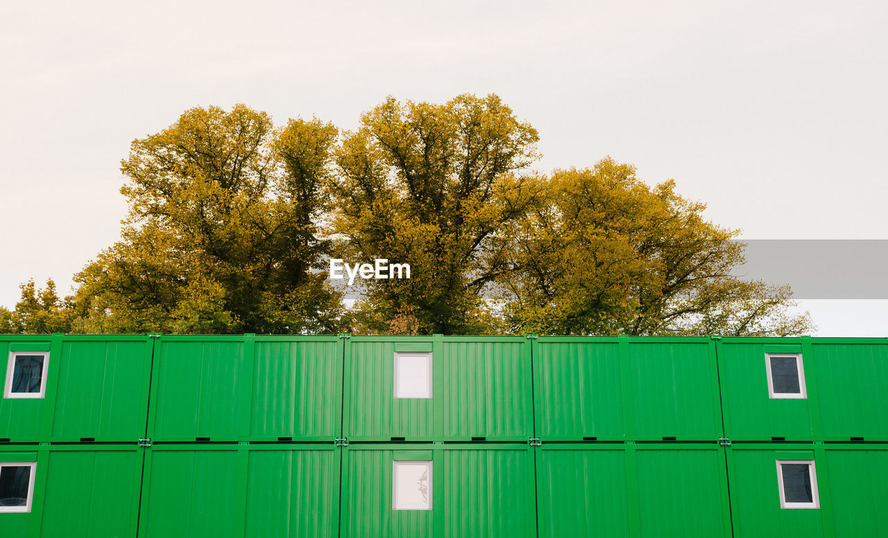 tree, green color, plant, sky, no people, nature, architecture, day, outdoors, container, clear sky, built structure, metal, safety, building exterior, growth, security, freight transportation, cargo container, building