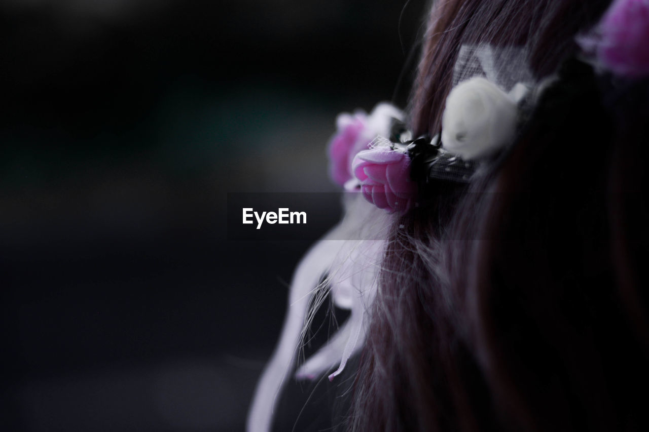 Close-up of woman wearing flowers on hair