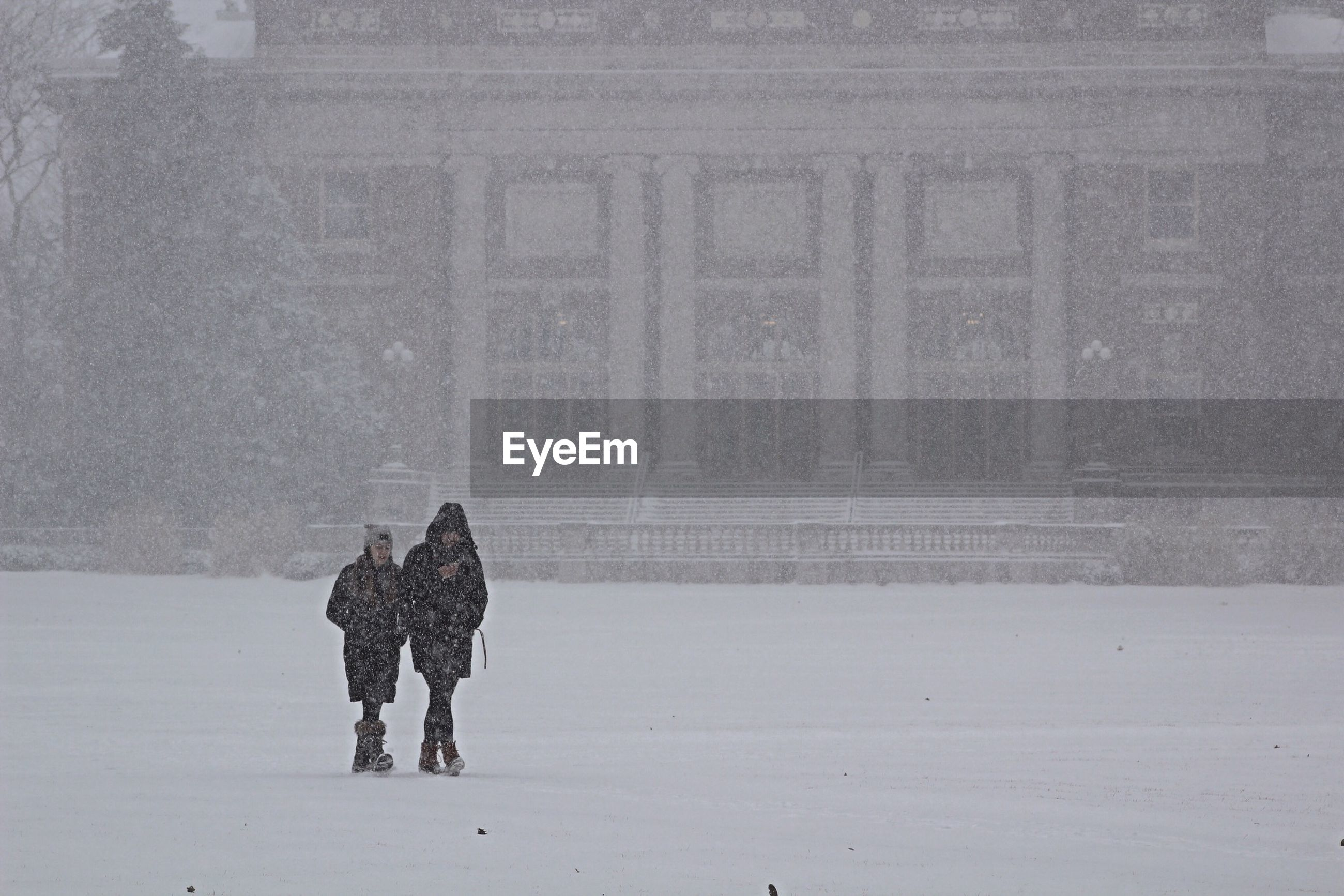 Women walking in snow