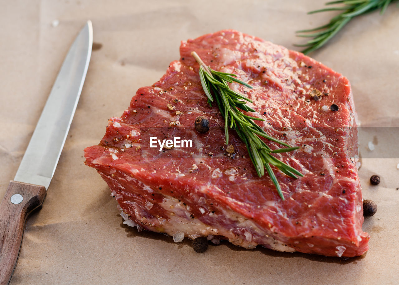 Close-up of raw red meat