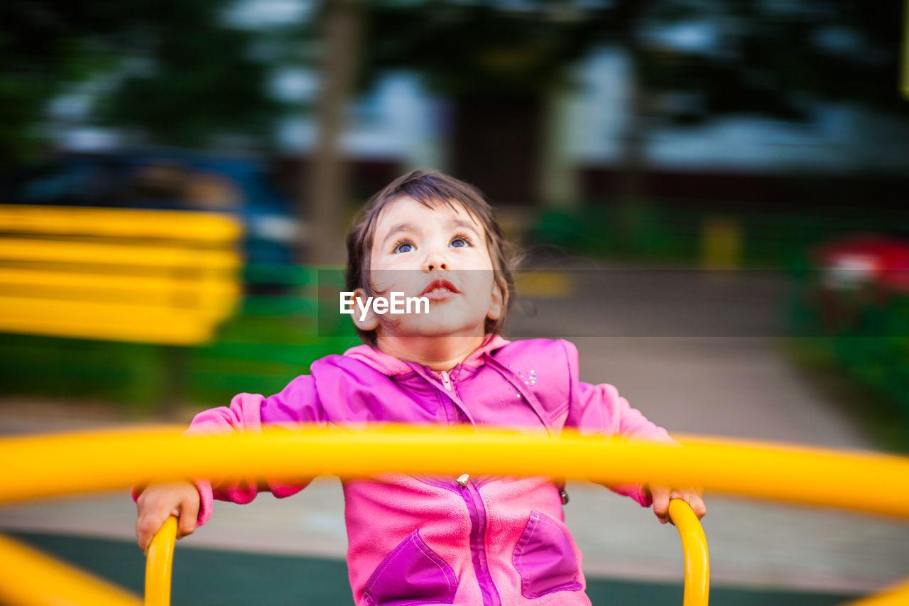 Smiling girl at playground