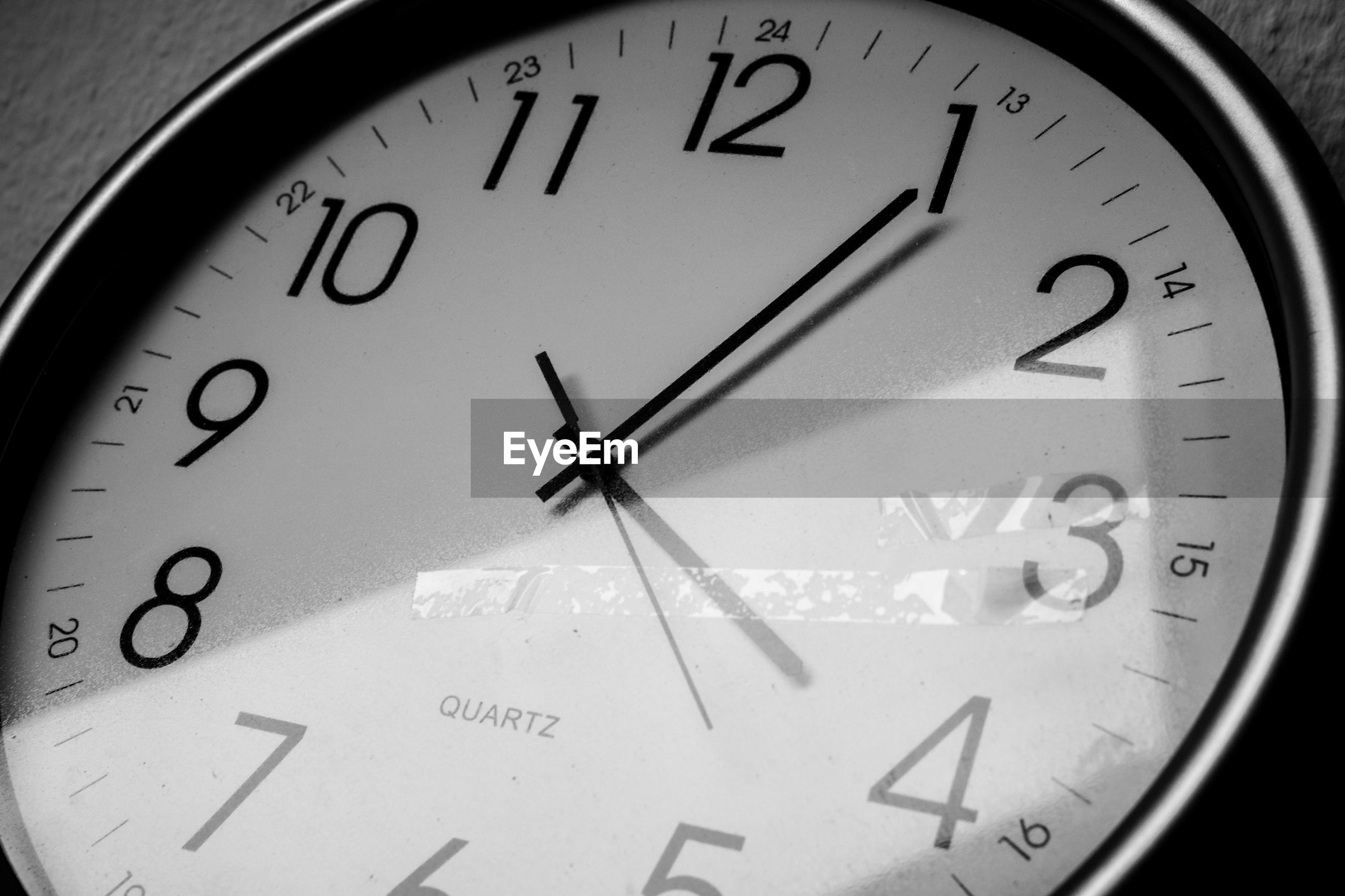 communication, text, western script, number, close-up, indoors, time, clock, arrow symbol, capital letter, accuracy, information, wall clock, guidance, minute hand, sign, clock face, single word, no people, alphabet