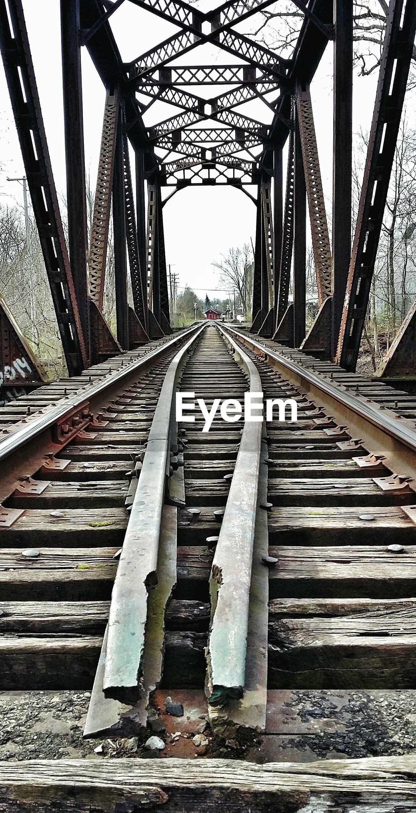 Railroad track on bridge
