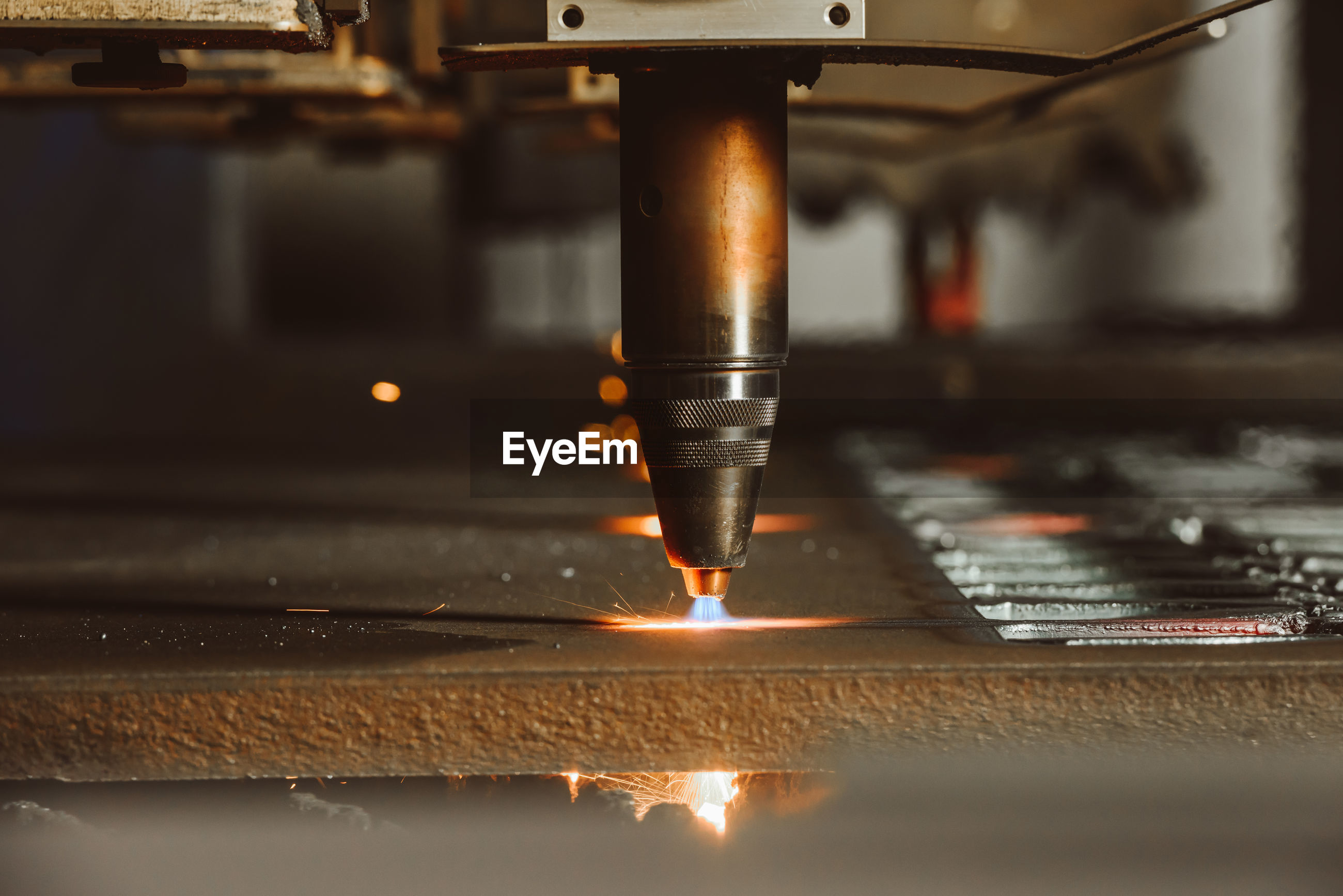 Close-up of manufacturing equipment at metal industry
