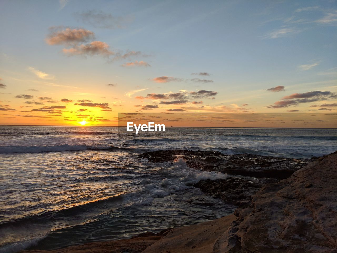 sunset, sky, sea, water, scenics - nature, beach, beauty in nature, horizon over water, land, horizon, cloud - sky, tranquility, wave, motion, orange color, tranquil scene, idyllic, no people, nature, outdoors