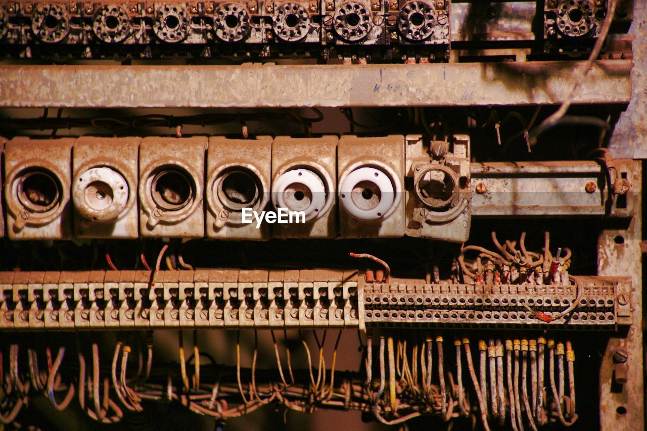 no people, metal, technology, industry, equipment, close-up, indoors, connection, electronics industry, full frame, day, backgrounds, pattern, art and craft, machinery, architecture, business, rail transportation, dirty