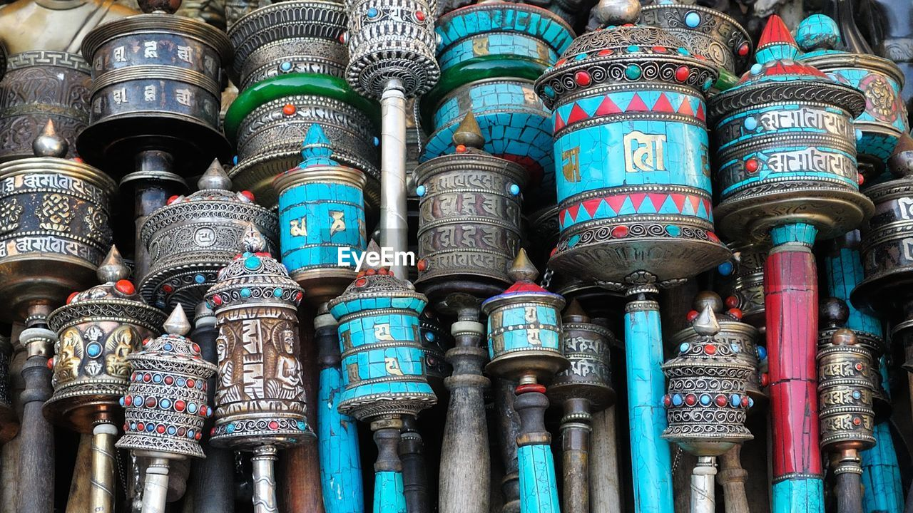 Full Frame Shot Of Prayer Wheels