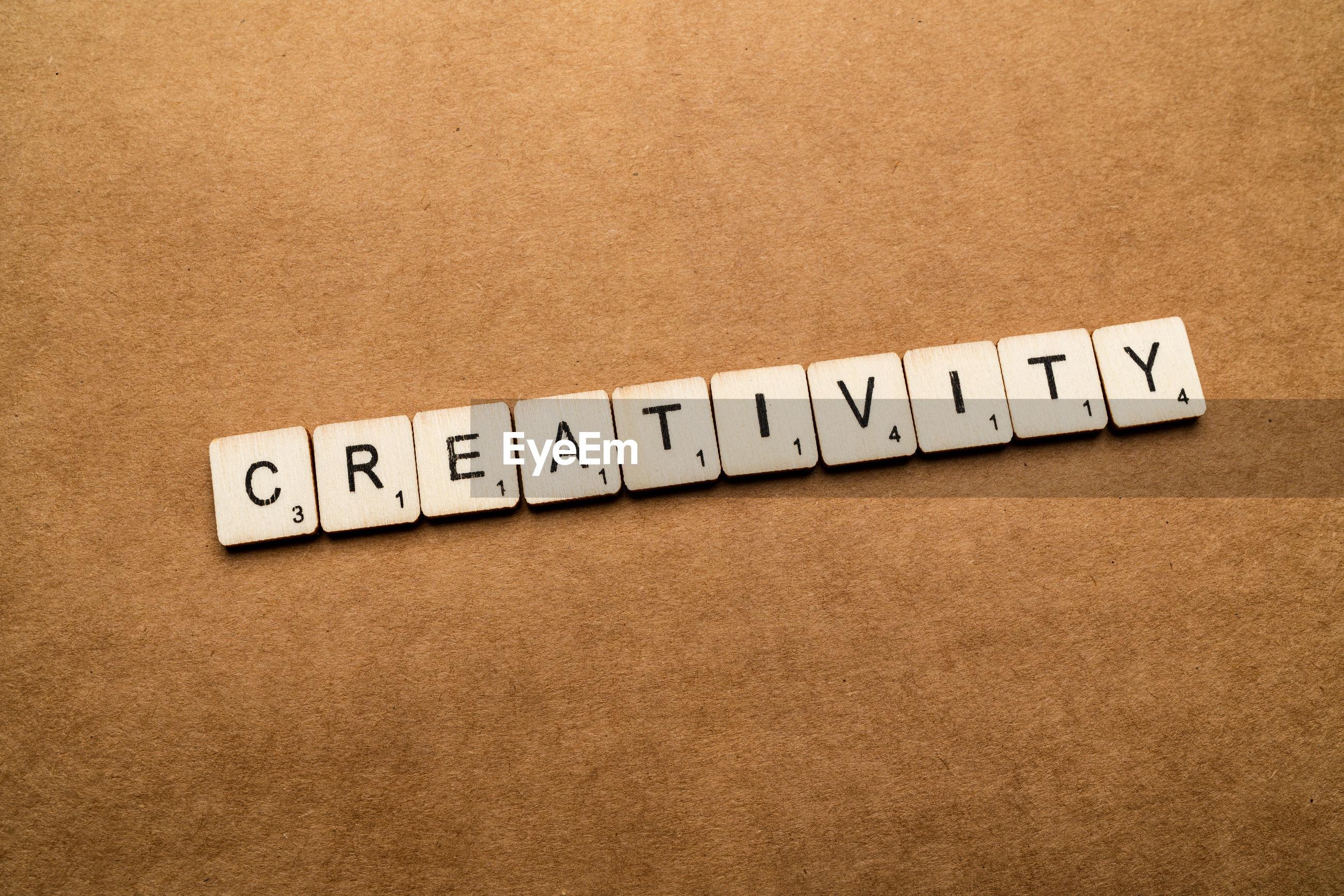 Creativity text on table