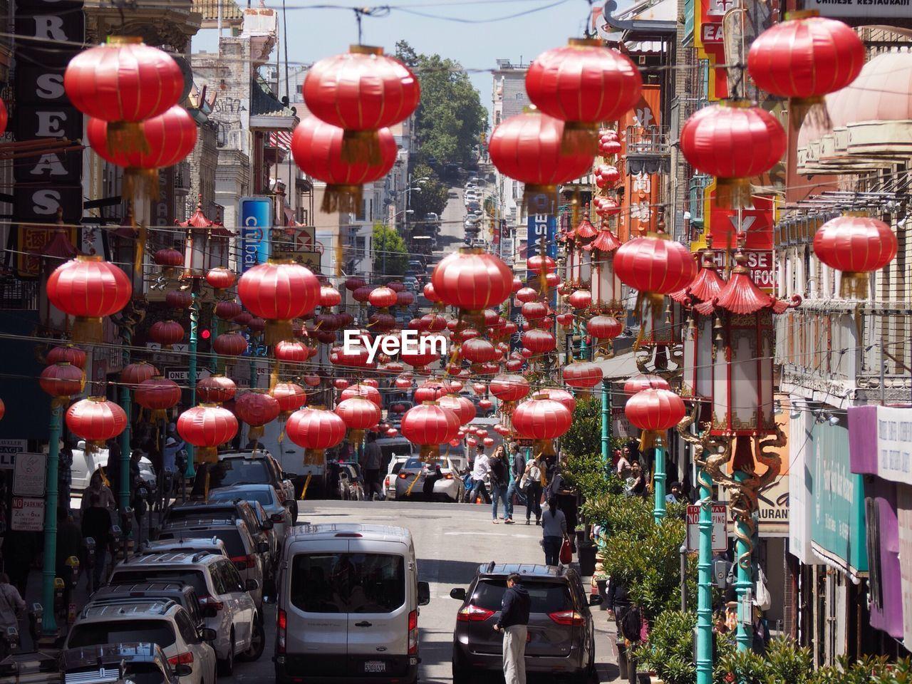 Lanterns Hanging In City