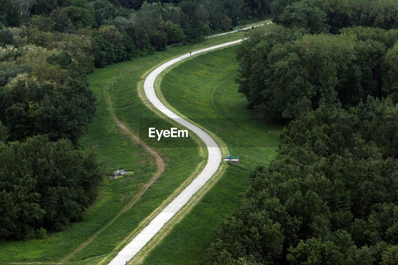 High angle shot of road along countryside landscape