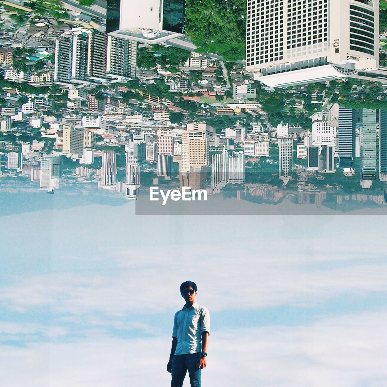 Multiple image of man standing against sky and cityscape