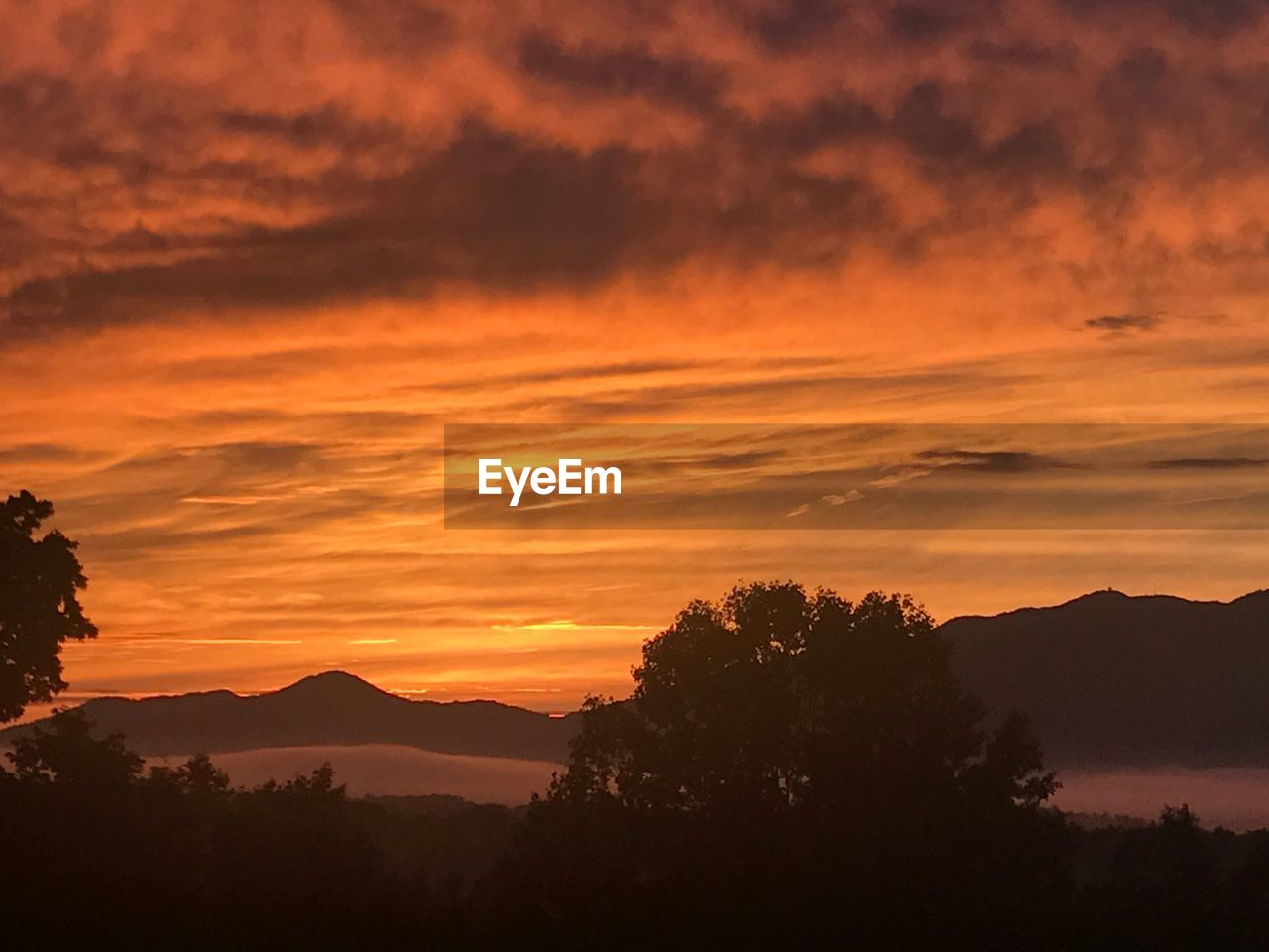 sunset, sky, beauty in nature, scenics - nature, tranquil scene, tranquility, cloud - sky, silhouette, orange color, mountain, tree, idyllic, plant, no people, nature, non-urban scene, mountain range, outdoors, environment, dramatic sky, romantic sky