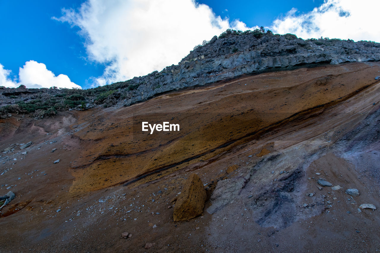 sky, cloud - sky, beauty in nature, tranquility, mountain, scenics - nature, tranquil scene, nature, day, non-urban scene, environment, landscape, land, rock, geology, no people, rock - object, physical geography, remote, solid, outdoors, mountain peak, arid climate