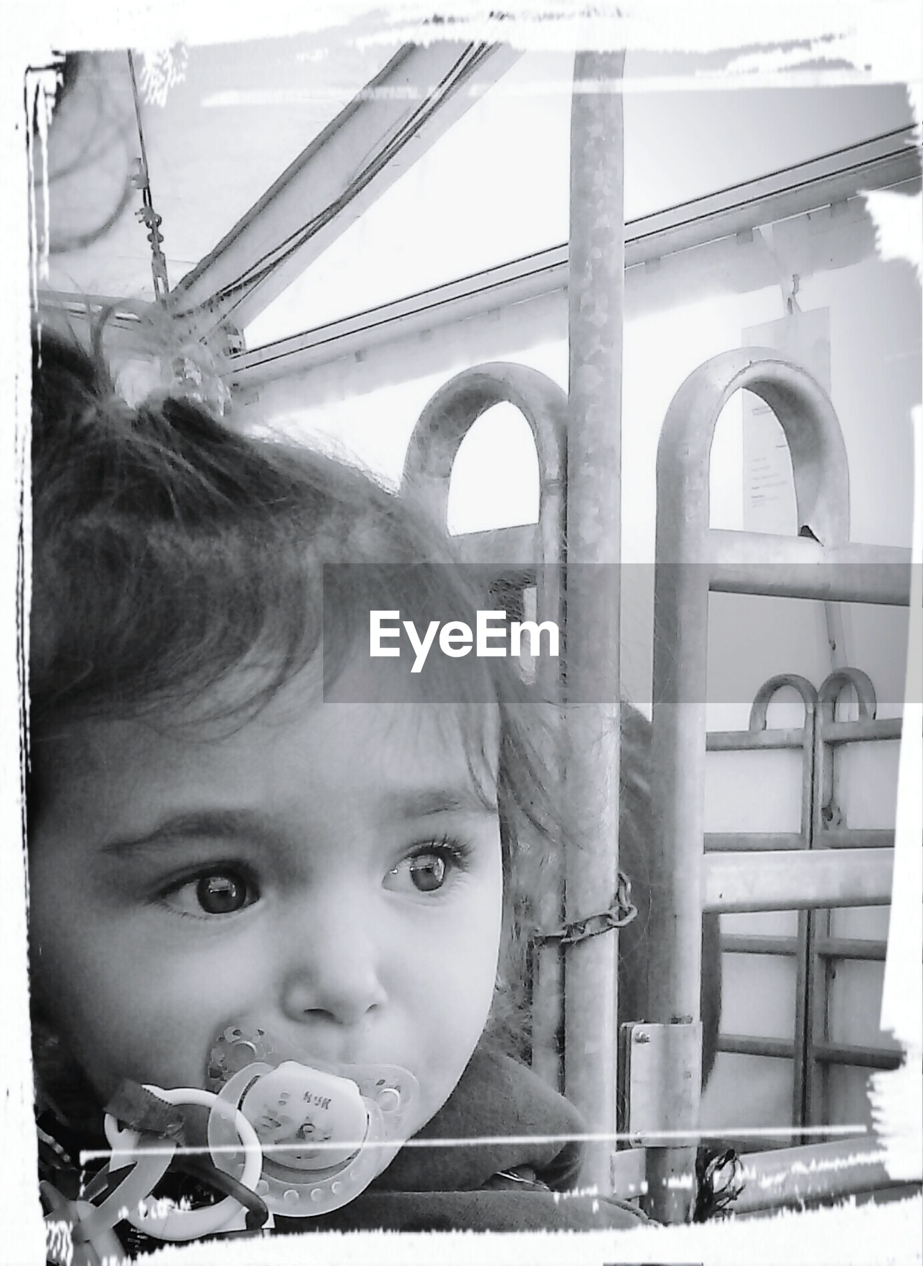 transfer print, childhood, person, auto post production filter, leisure activity, elementary age, lifestyles, girls, built structure, architecture, boys, cute, day, railing, innocence, headshot, looking at camera, close-up