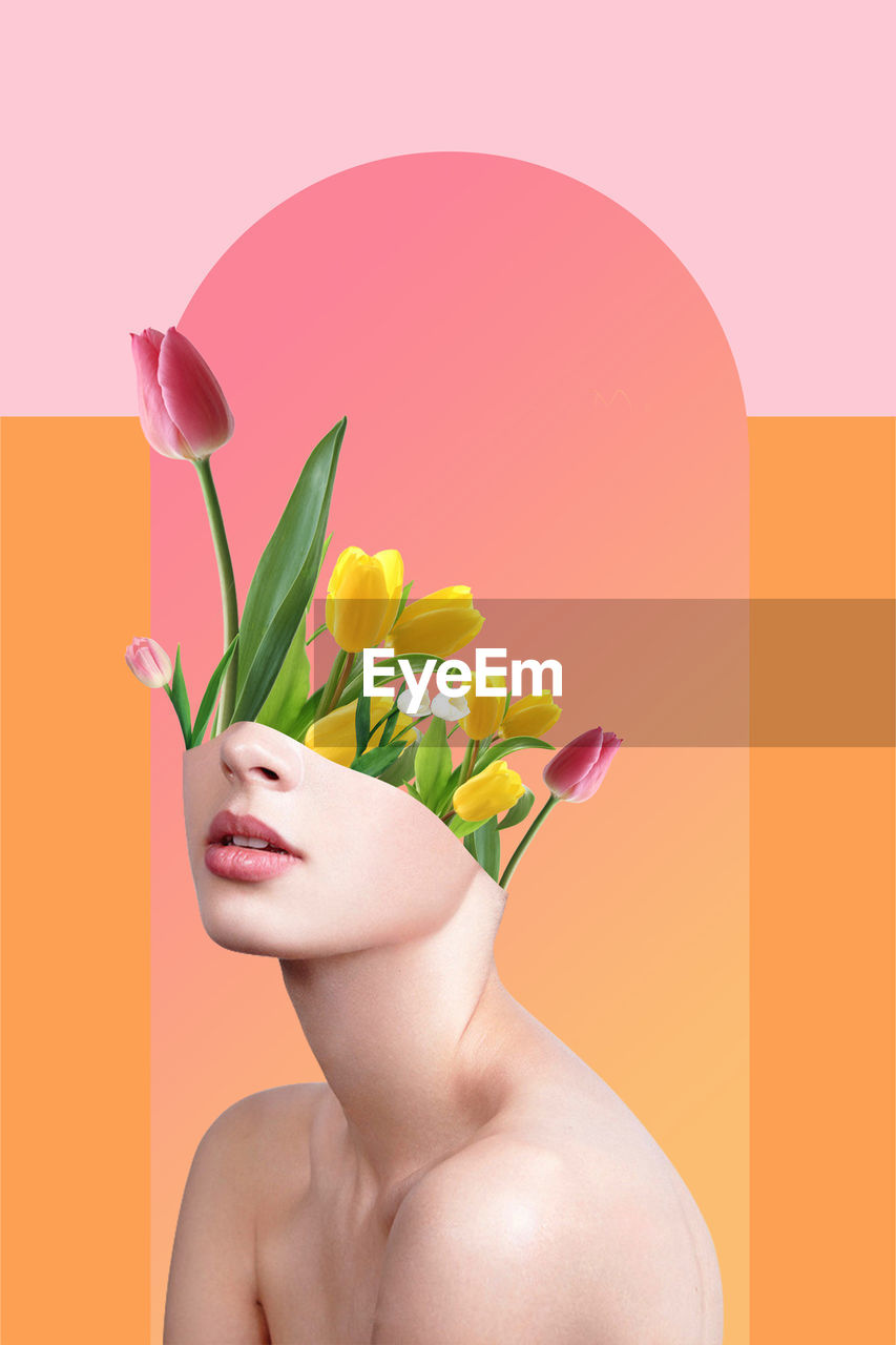 Digital Composite Image Of Shirtless Woman With Tulips Against Colored Background