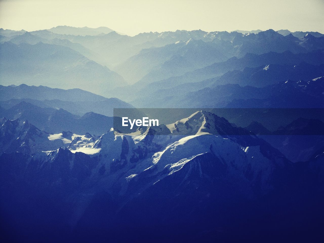 Aerial view of snowcapped mountain