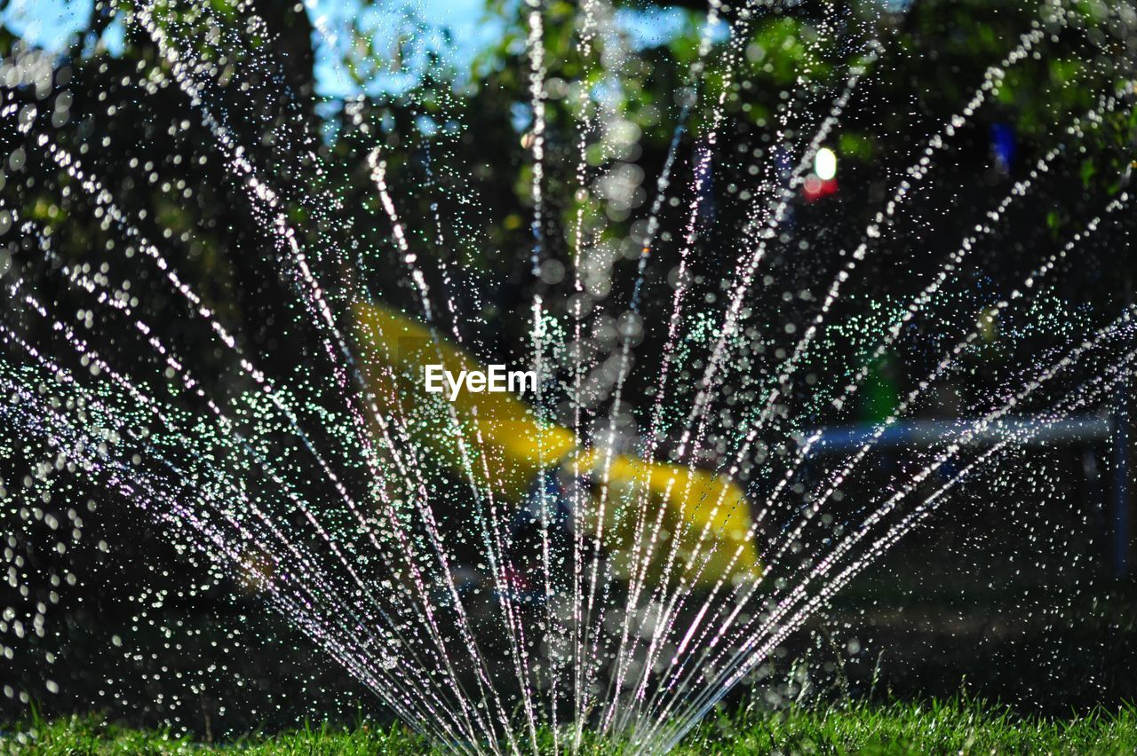 Sprinkler Spraying Water In Garden