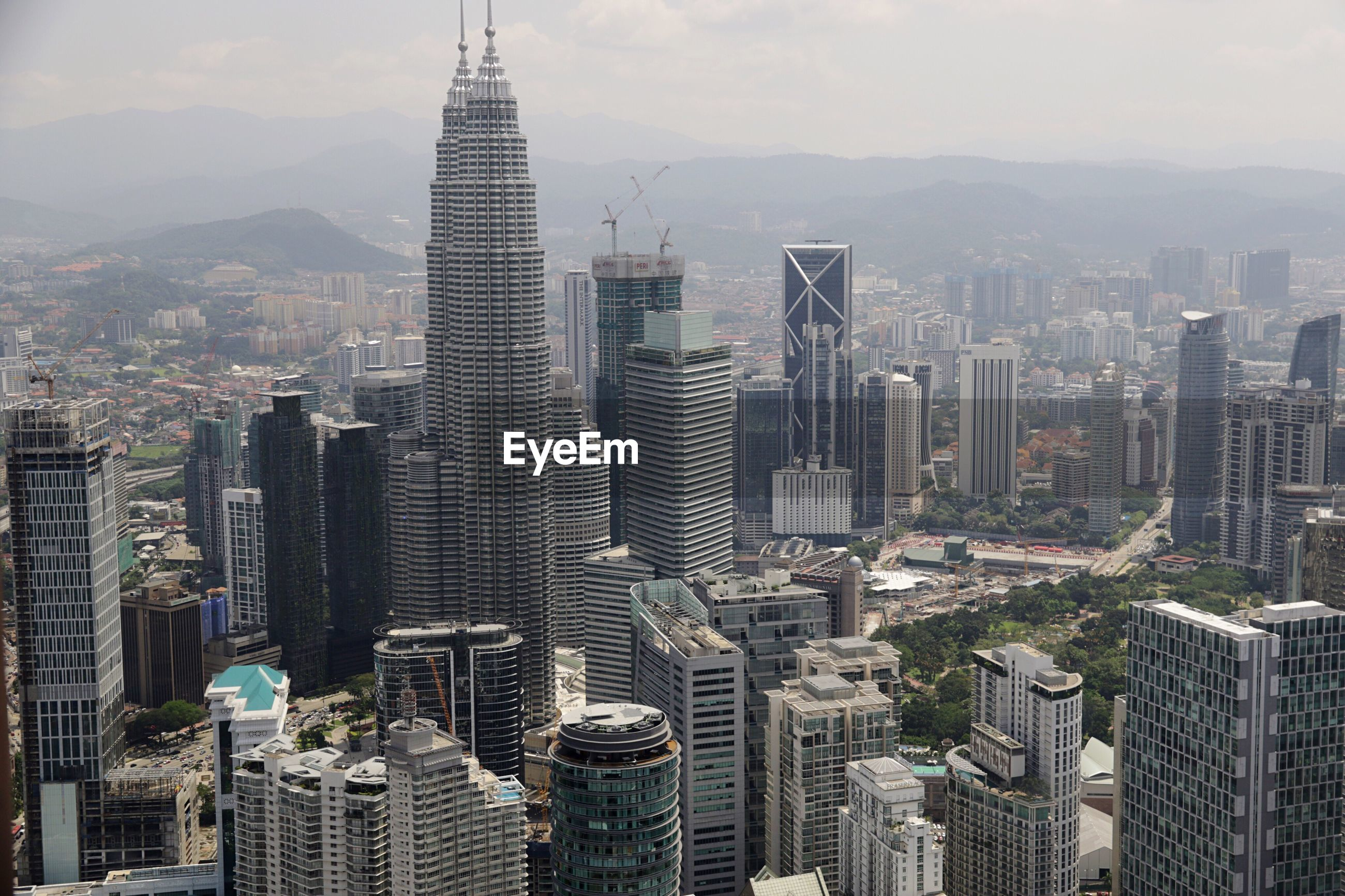 AERIAL VIEW OF SKYSCRAPERS