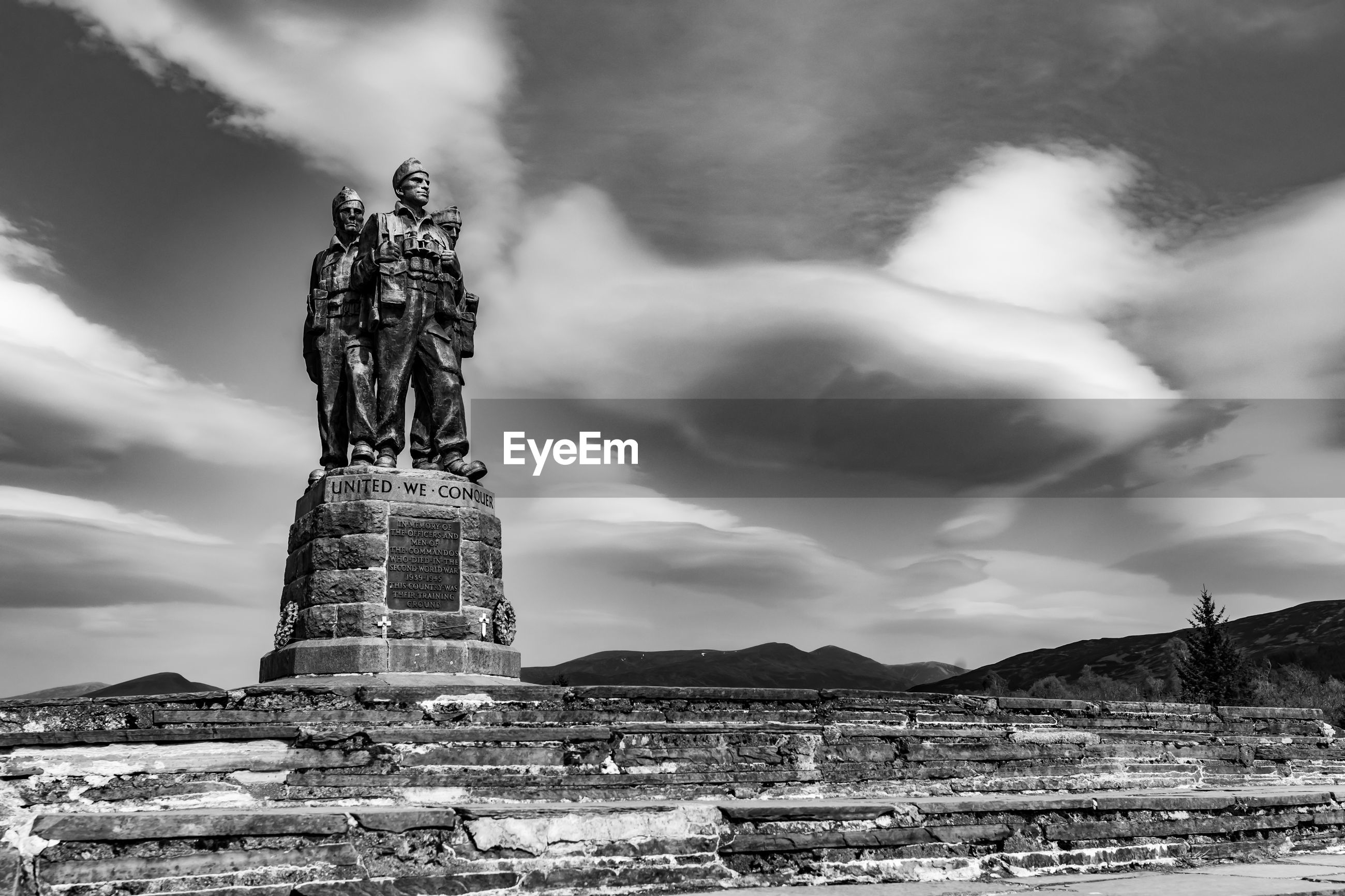 Commando memorial in black white
