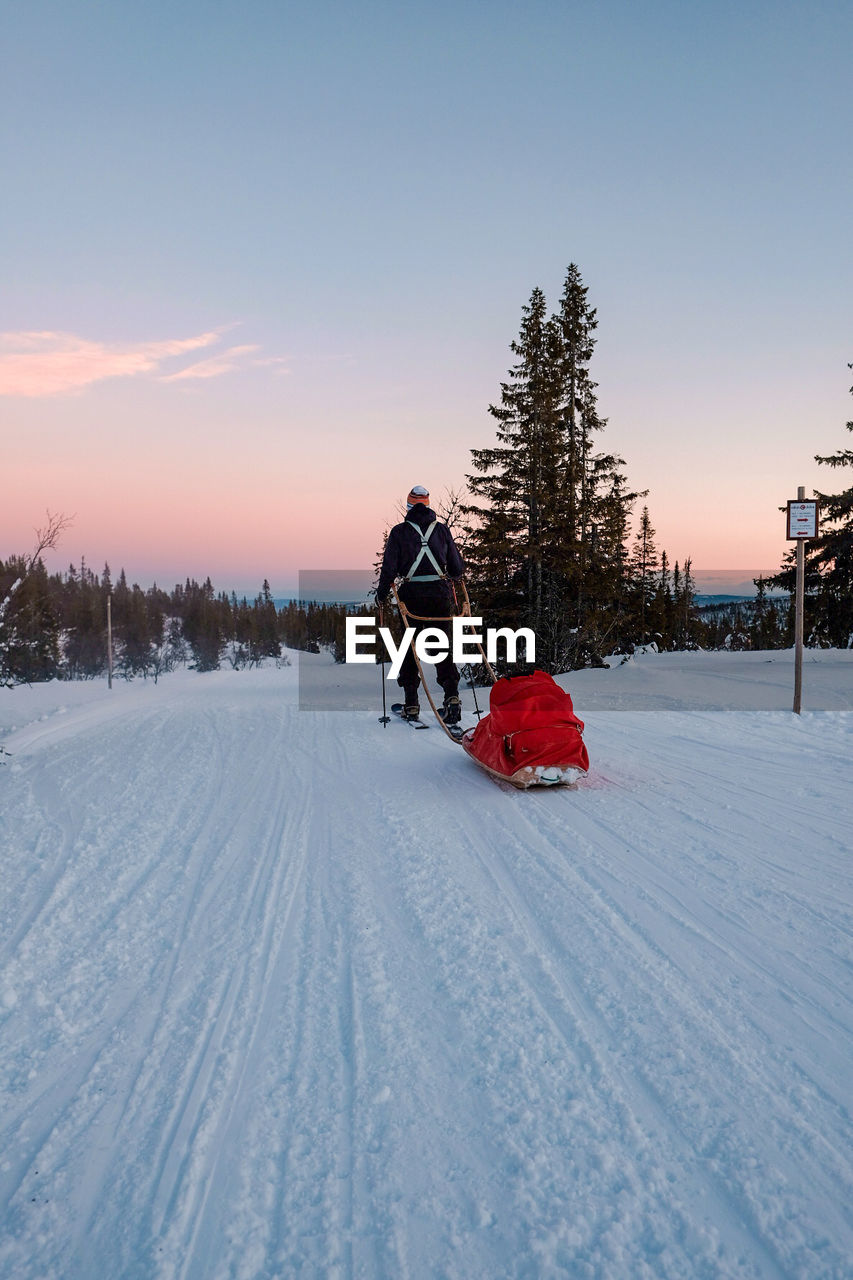 snow, winter, cold temperature, sky, sunset, real people, tree, leisure activity, full length, nature, men, lifestyles, covering, scenics - nature, field, beauty in nature, one person, land, warm clothing, outdoors
