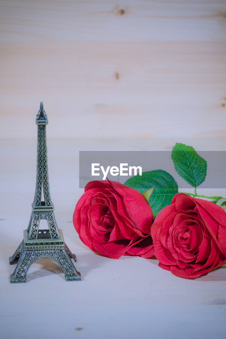 flower, rose, rose - flower, red, flowering plant, plant, beauty in nature, nature, no people, close-up, table, indoors, travel destinations, freshness, inflorescence, vulnerability, fragility, tower, still life, flower head