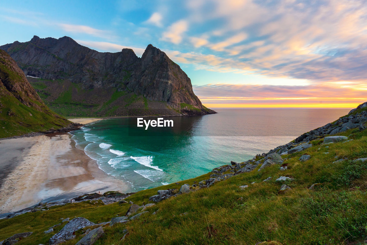 scenics - nature, beauty in nature, sky, water, tranquil scene, tranquility, mountain, sunset, cloud - sky, sea, idyllic, non-urban scene, land, nature, beach, no people, rock, rock formation, remote, outdoors