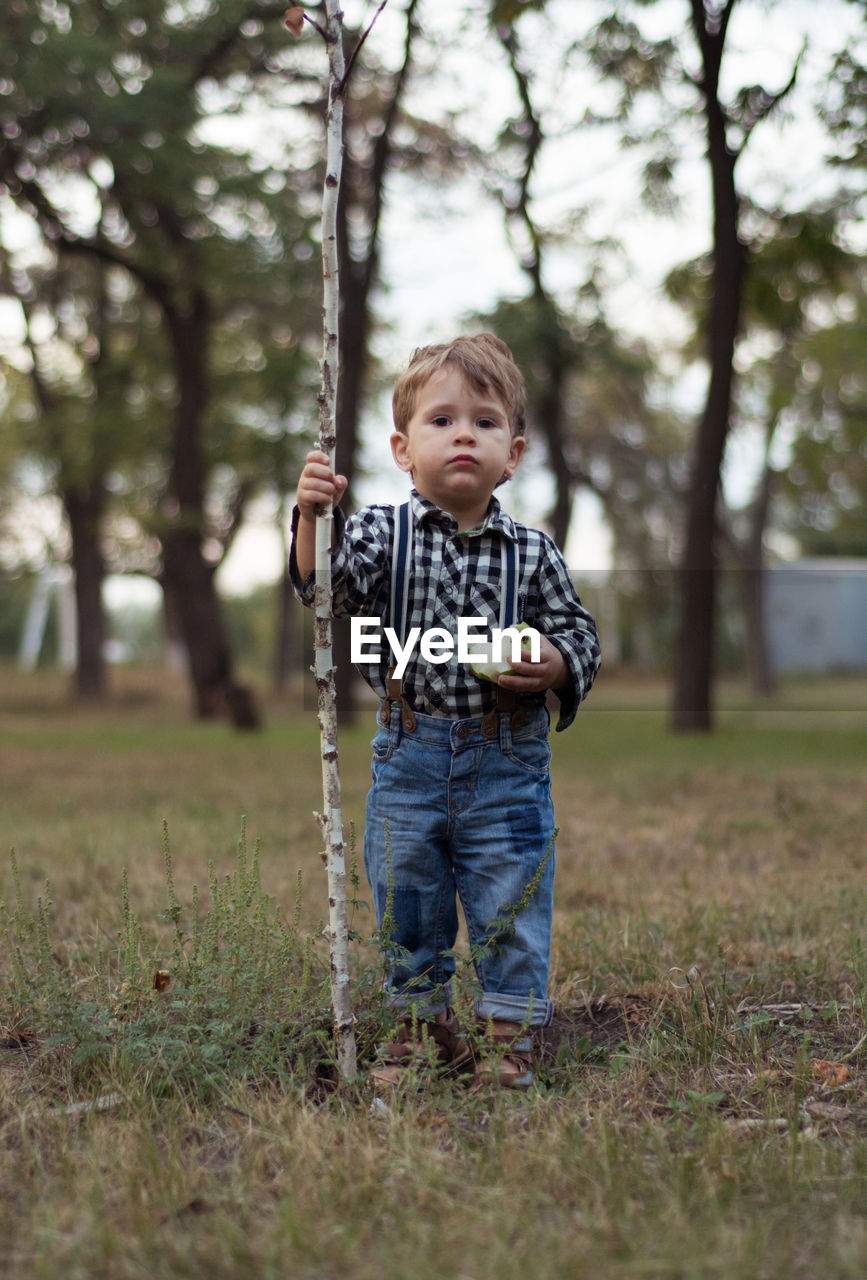 Full Length Of Boy Holding Apple And Stick While Standing On Field