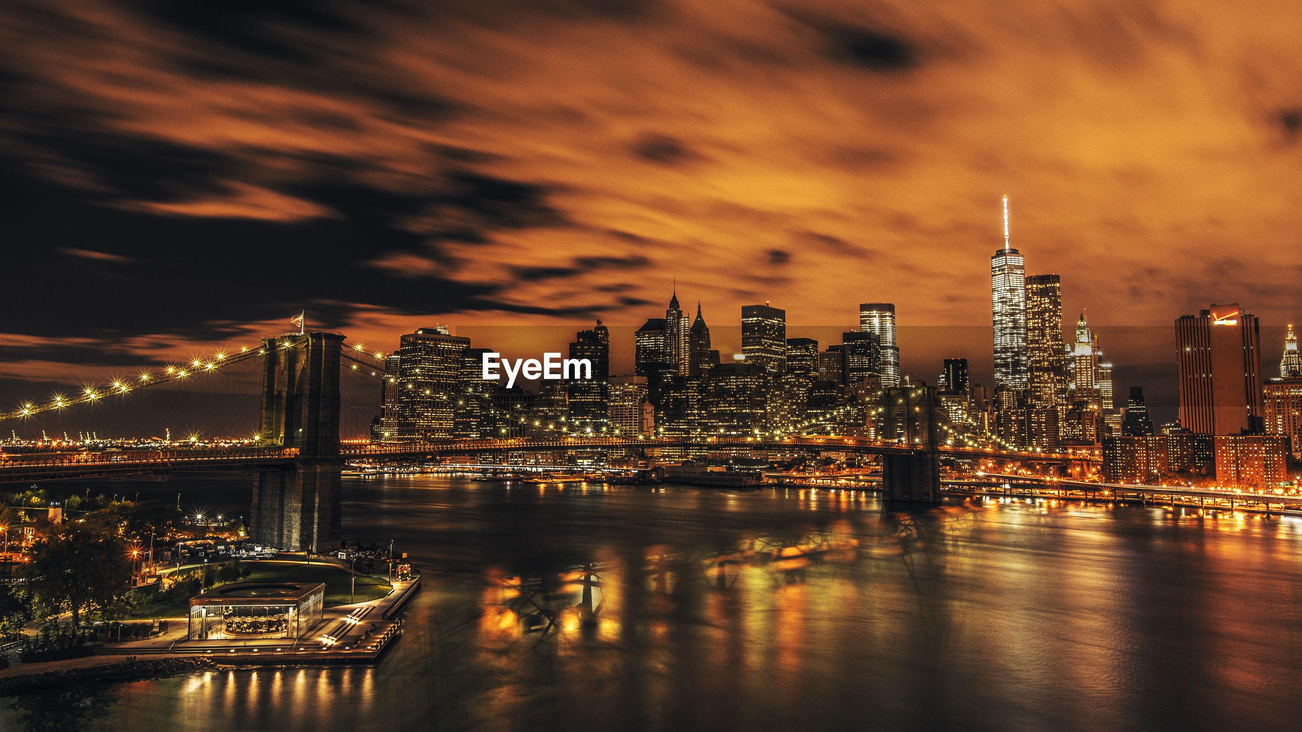 City lit up at dusk