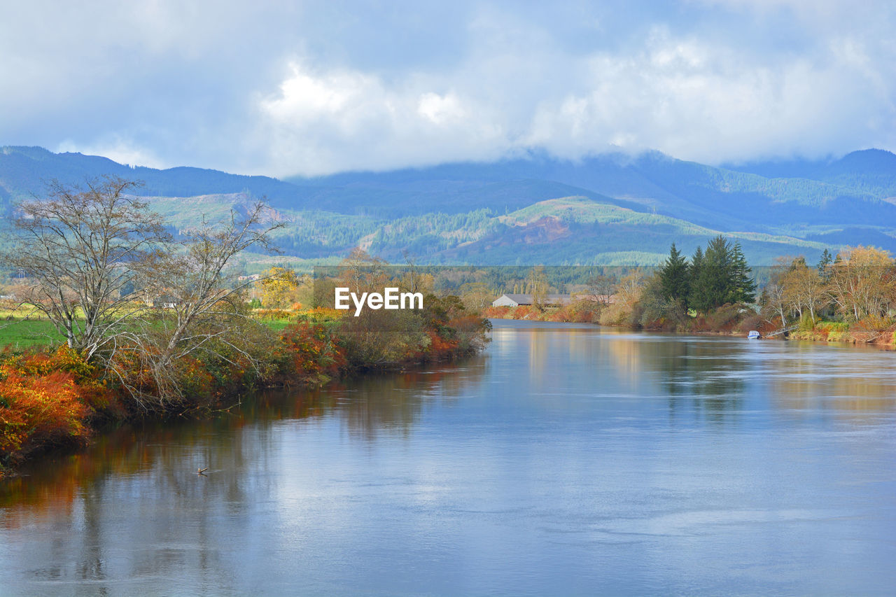 Scenic view of river by landscape against sky