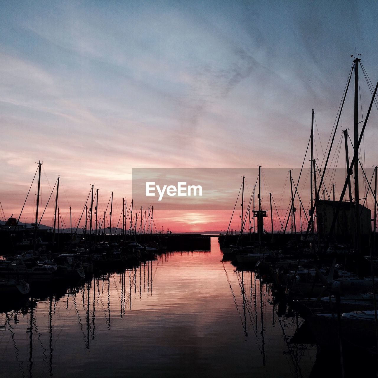 reflection, sunset, sky, nautical vessel, water, tranquility, moored, scenics, mast, tranquil scene, sailboat, harbor, no people, cloud - sky, nature, transportation, beauty in nature, mode of transport, outdoors, lake, marina, waterfront, travel destinations, silhouette, jetty, yacht, day