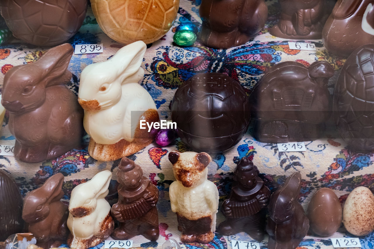 Full frame shot of various desserts for sale in shop during easter
