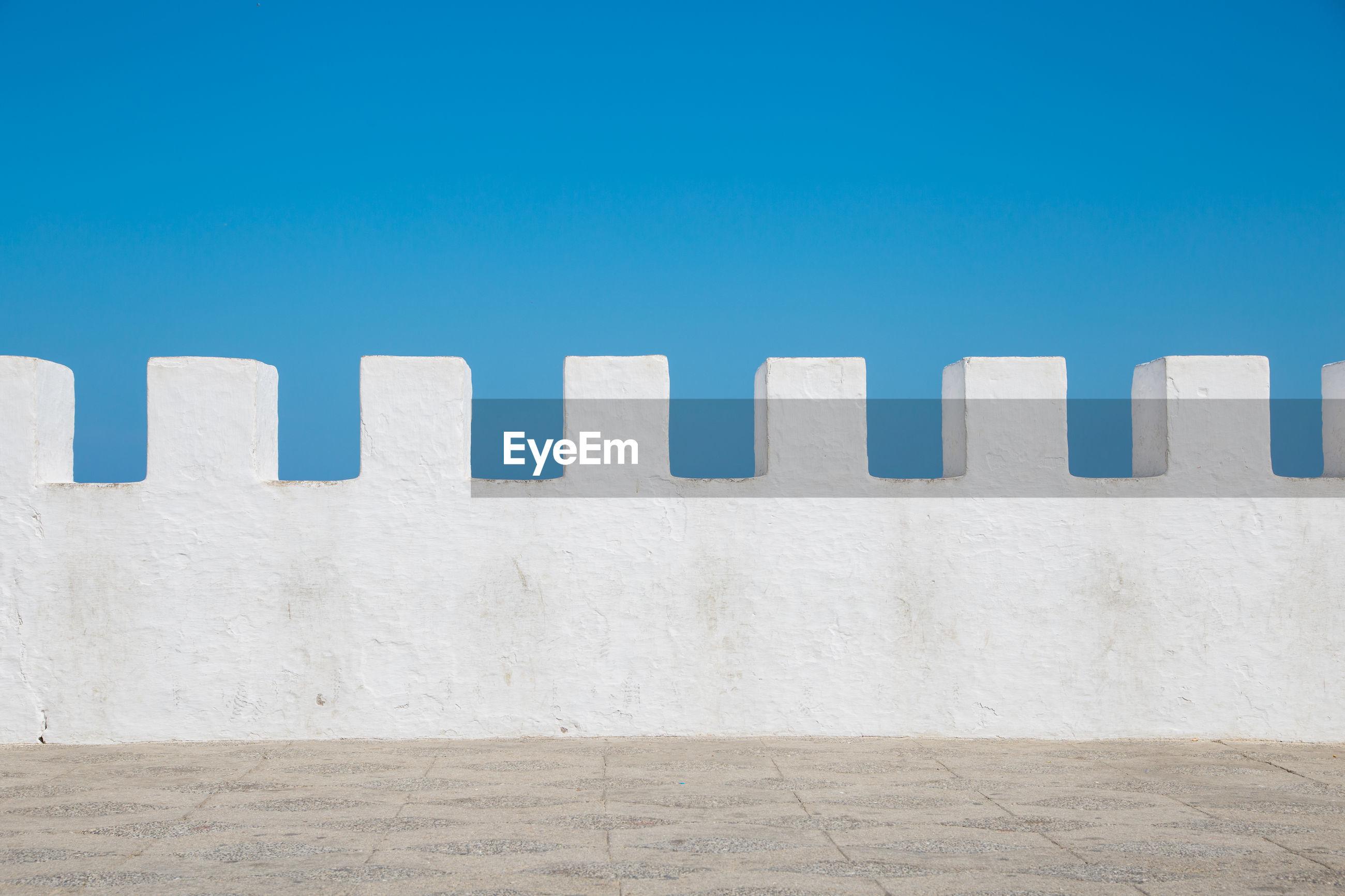 Wall against clear blue sky