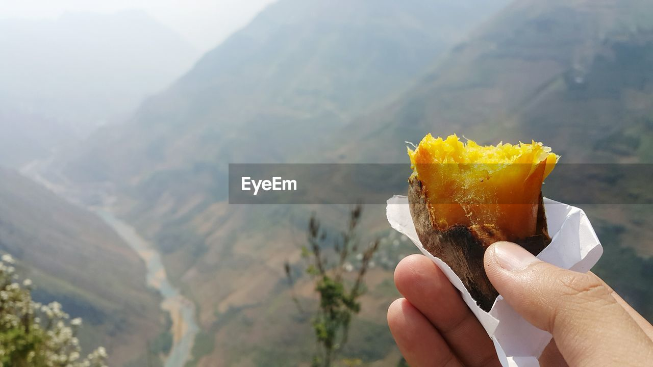 Hand Holding Snack Against Countryside Landscape