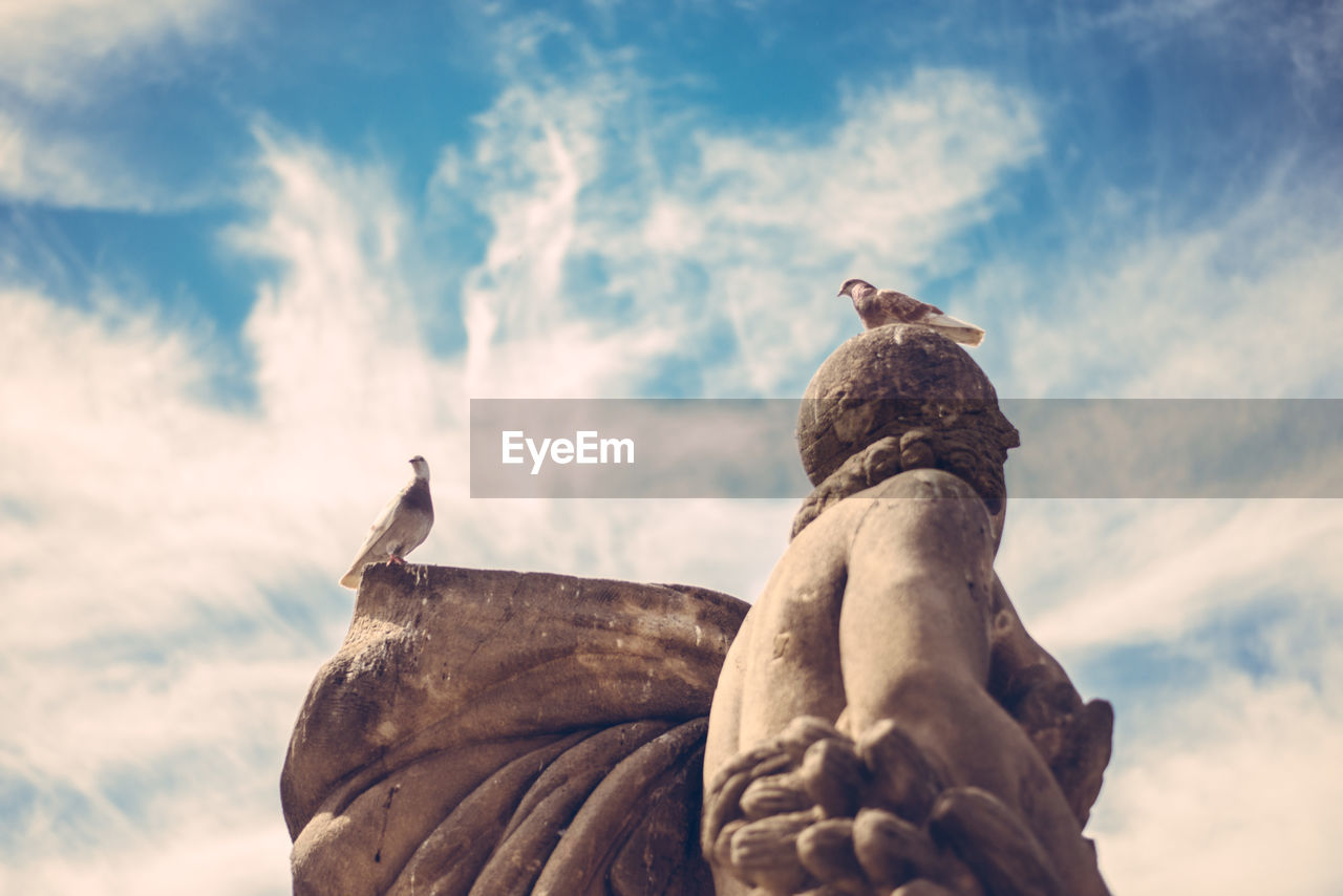 Low Angle View Of Birds Perching On Statue Against Sky