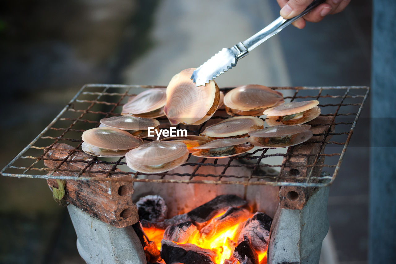 burning, heat - temperature, fire, flame, fire - natural phenomenon, food and drink, food, real people, preparing food, holding, preparation, human hand, hand, focus on foreground, one person, day, freshness, barbecue, nature, kitchen utensil, outdoors, bonfire