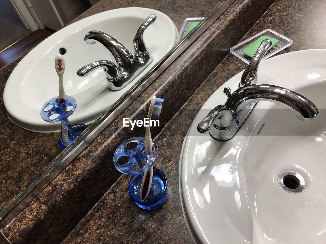 High angle view of bathroom sink