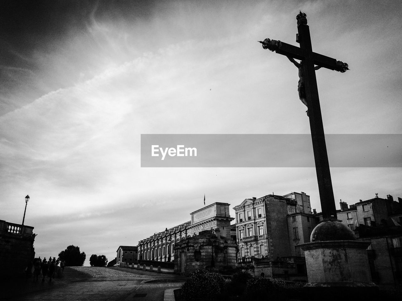 architecture, built structure, religion, belief, sky, building exterior, spirituality, place of worship, building, cloud - sky, cross, low angle view, nature, travel destinations, no people, the past, history, outdoors