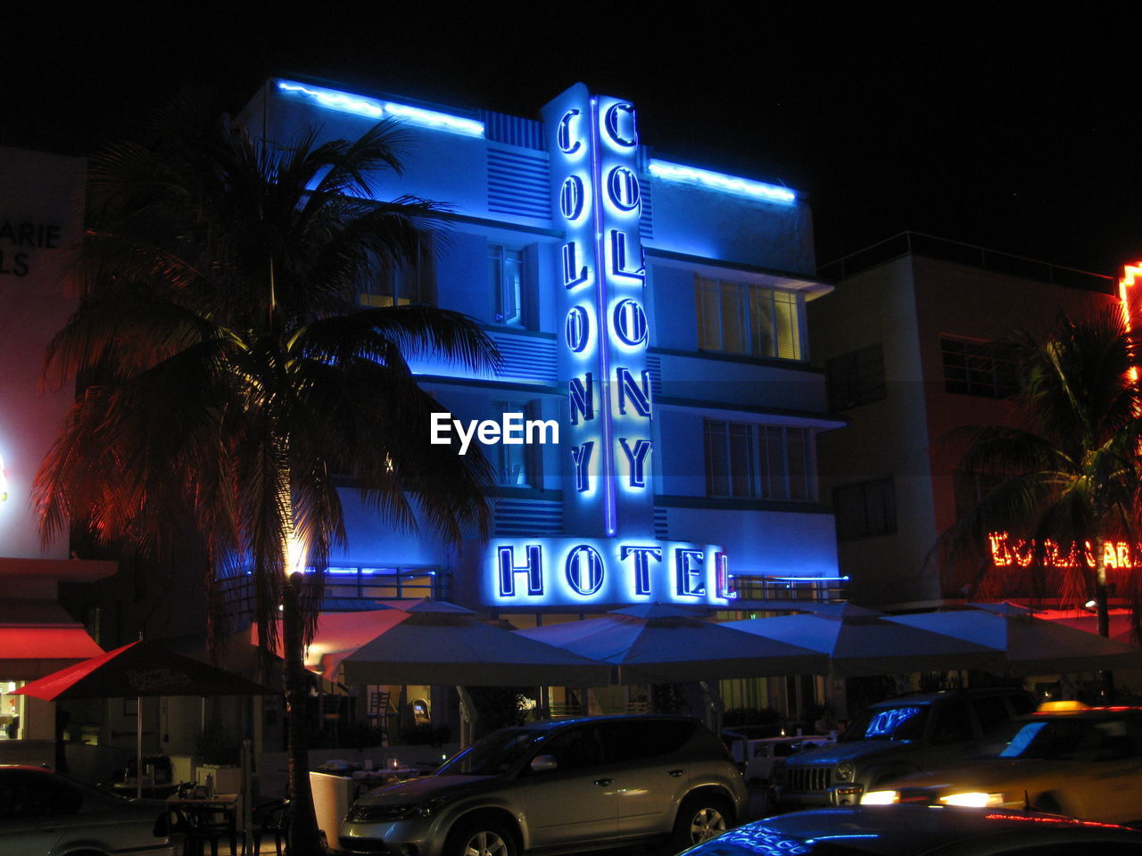 illuminated, night, western script, text, communication, car, land vehicle, blue, no people, neon, outdoors, building exterior, palm tree, architecture
