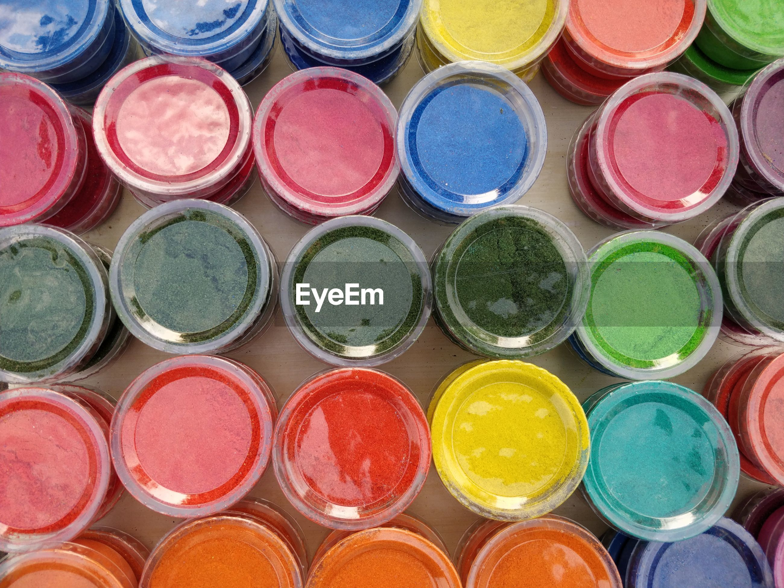 Full frame shot of multi colored powder for sale during holi festival